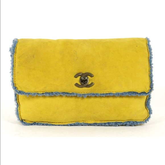 b802f947f4cb12 CHANEL Handbags - CHANEL Yellow Suede & Blue Shearling Flap Clutch